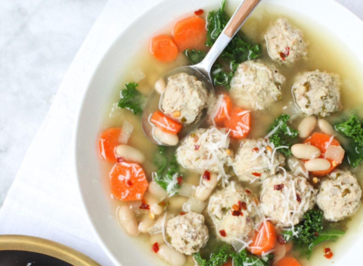 kale and turkey meatball soup