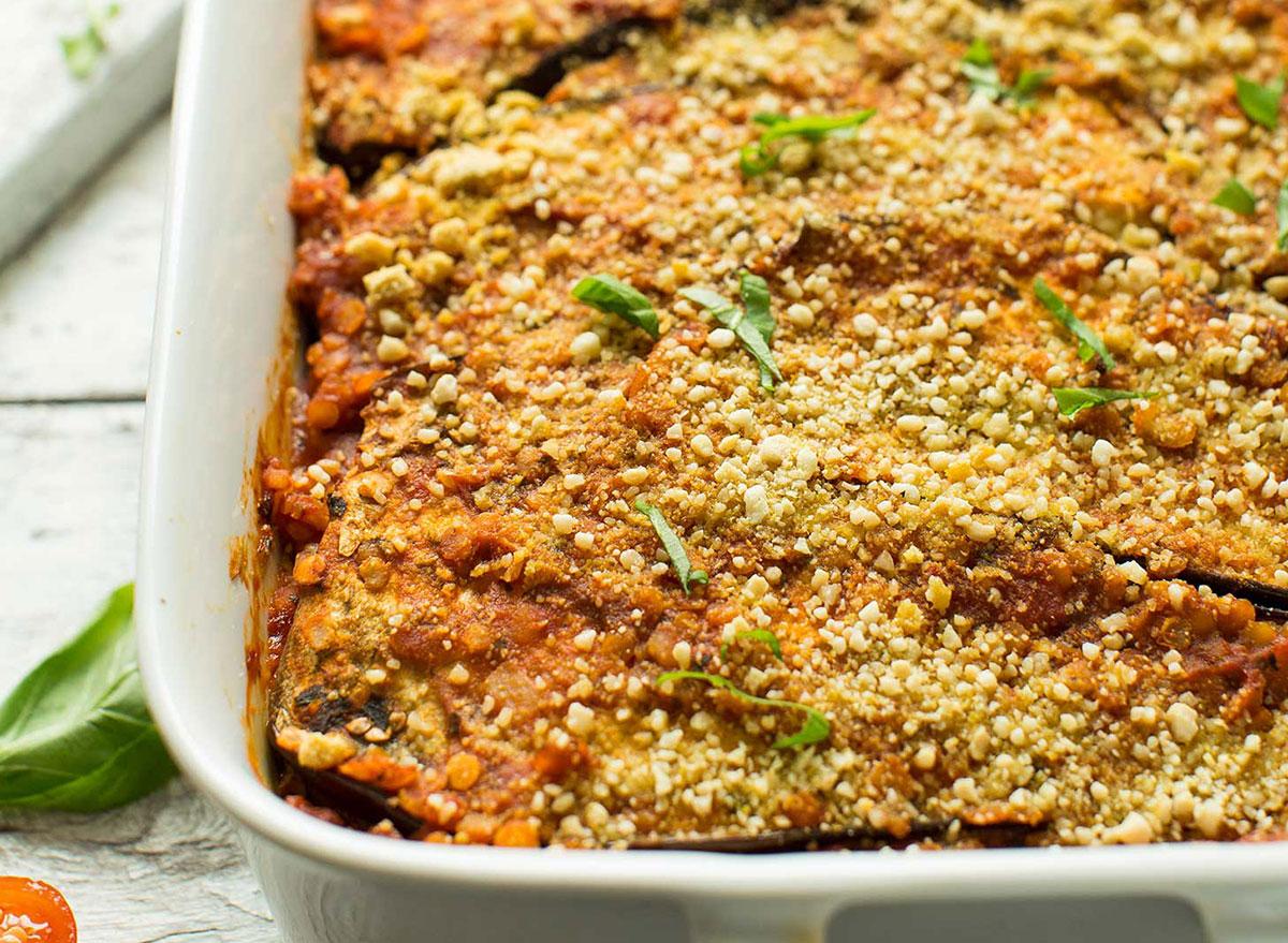 lentil and eggplant lasagna