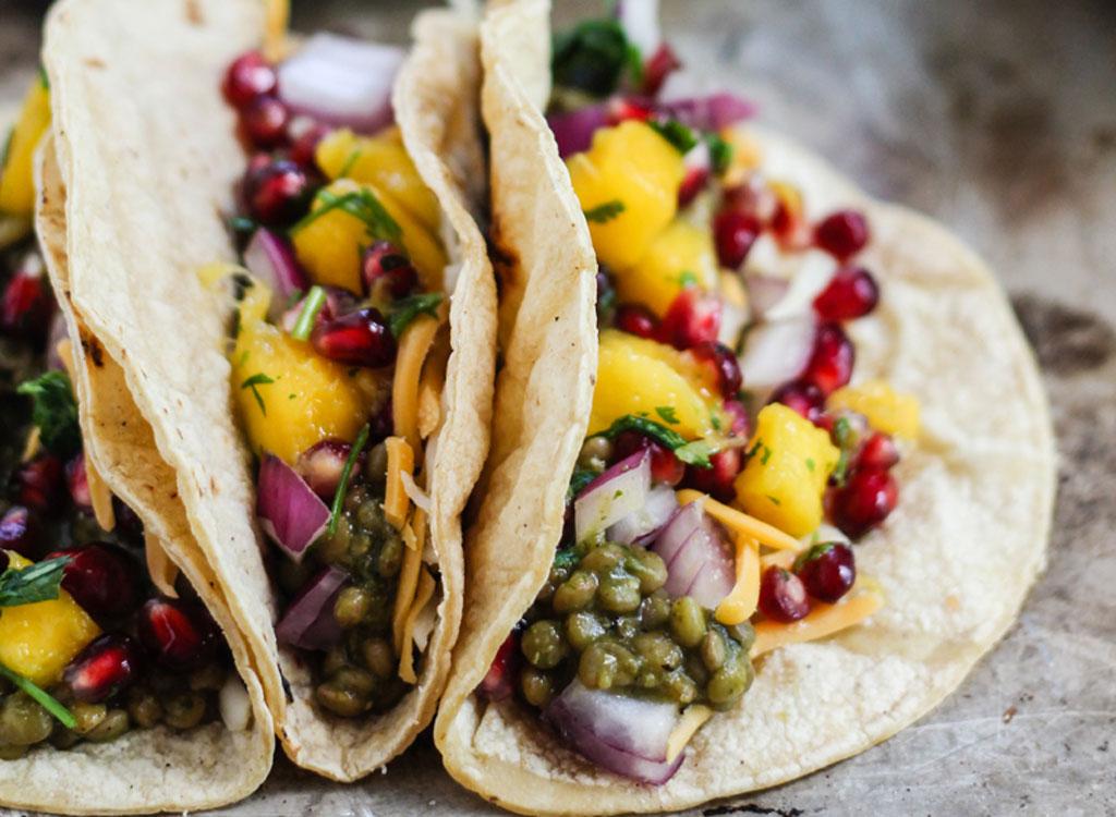 Salsa Verde Lentil Tacos With Mango Pomegranate Pico