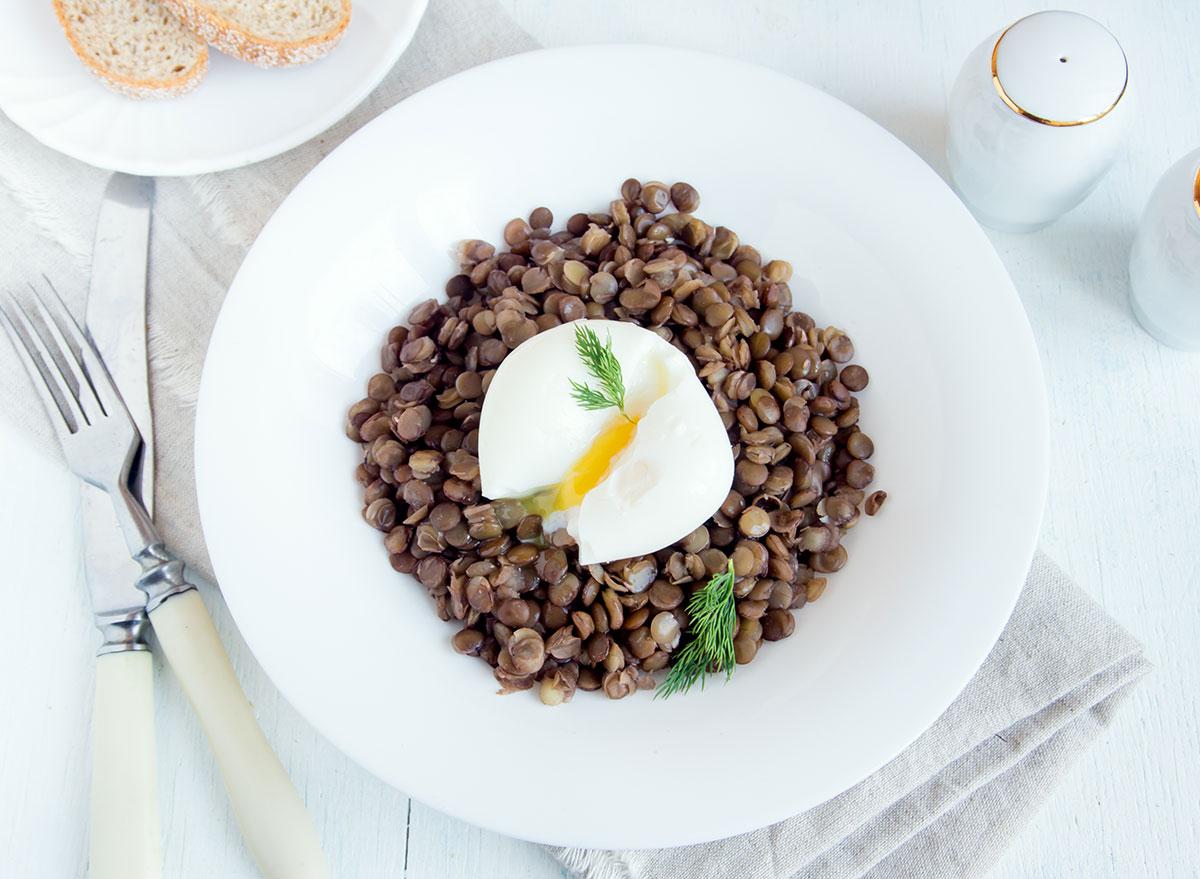 lentils poached egg