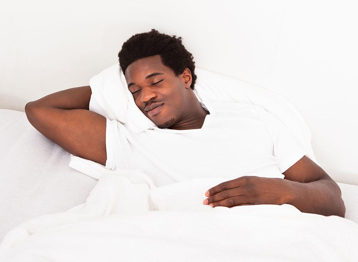 man sleeping well