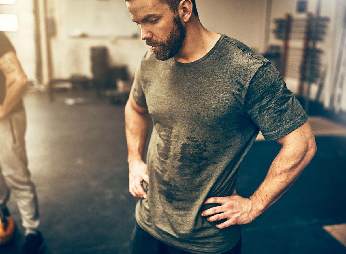 man sweating at gym