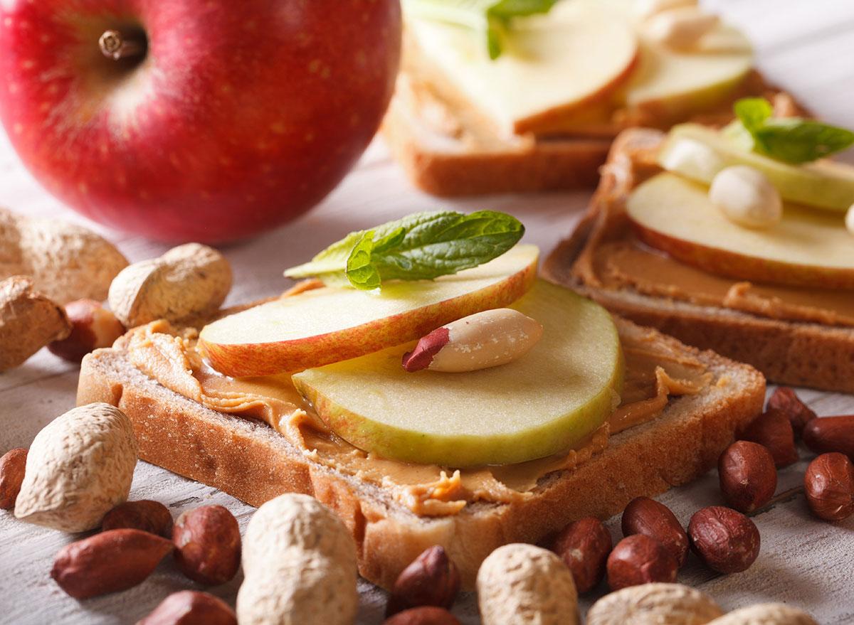 michigan apple peanut butter sandwich