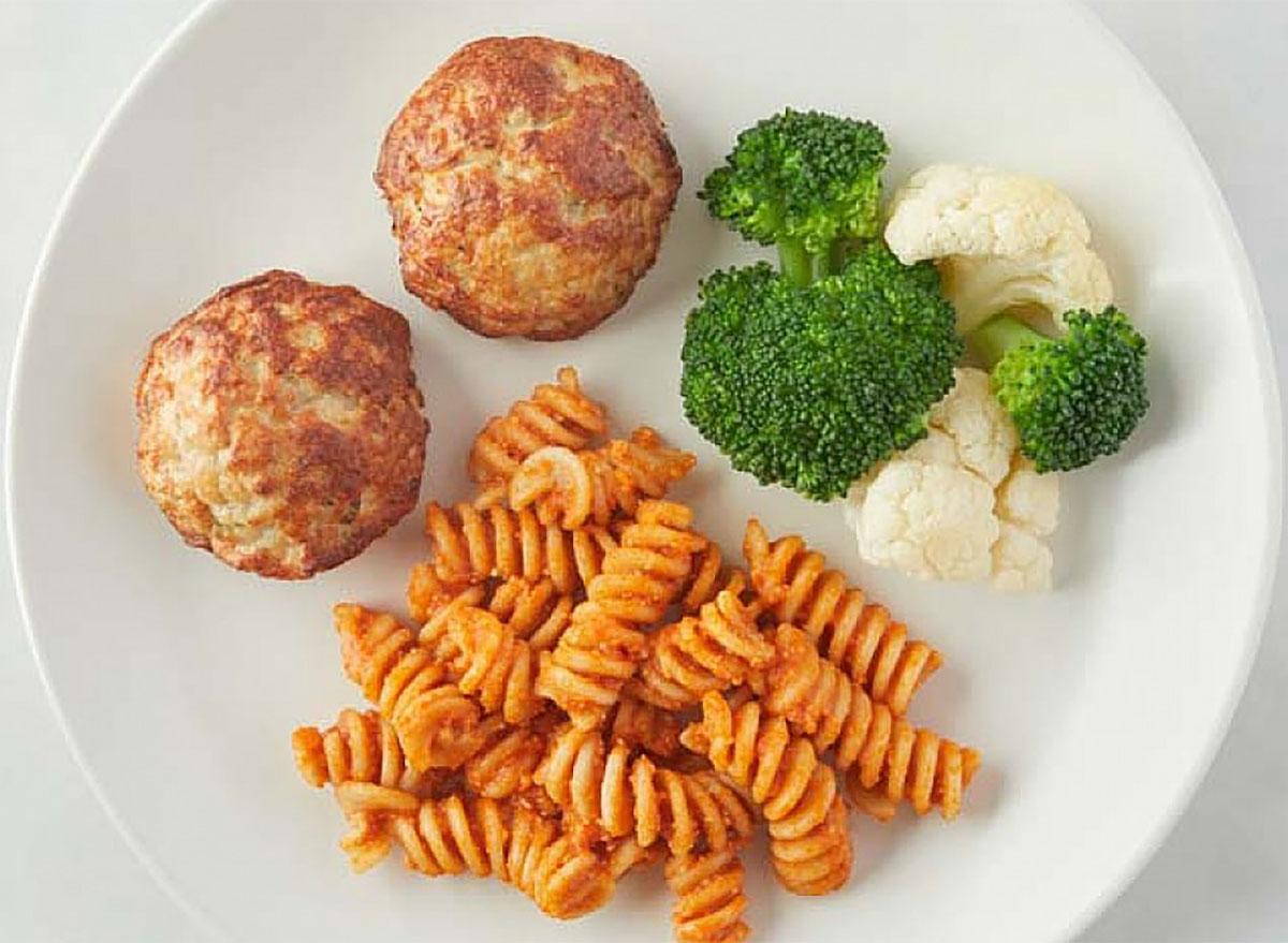 nurture life kids meal pasta chicken meatballs broccoli cauliflower