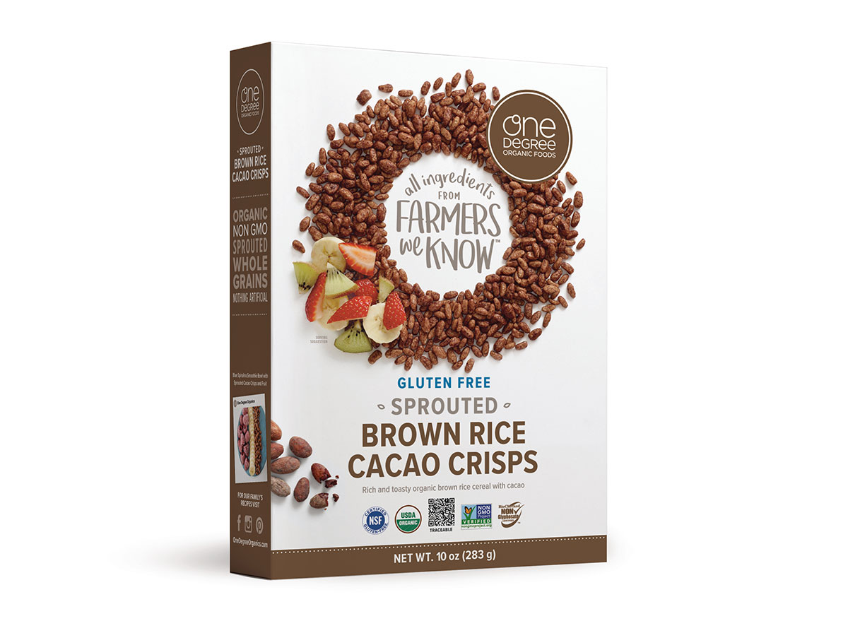 box of one degree cacao crisps cereal