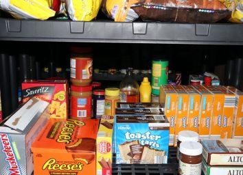 Prepper Shelves Basement Black Granola and Poptart Stockpile