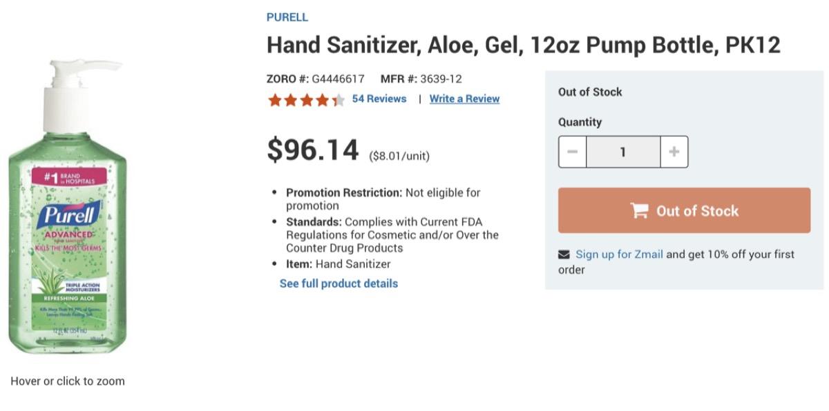 Website selling Sanitizer for $96.14