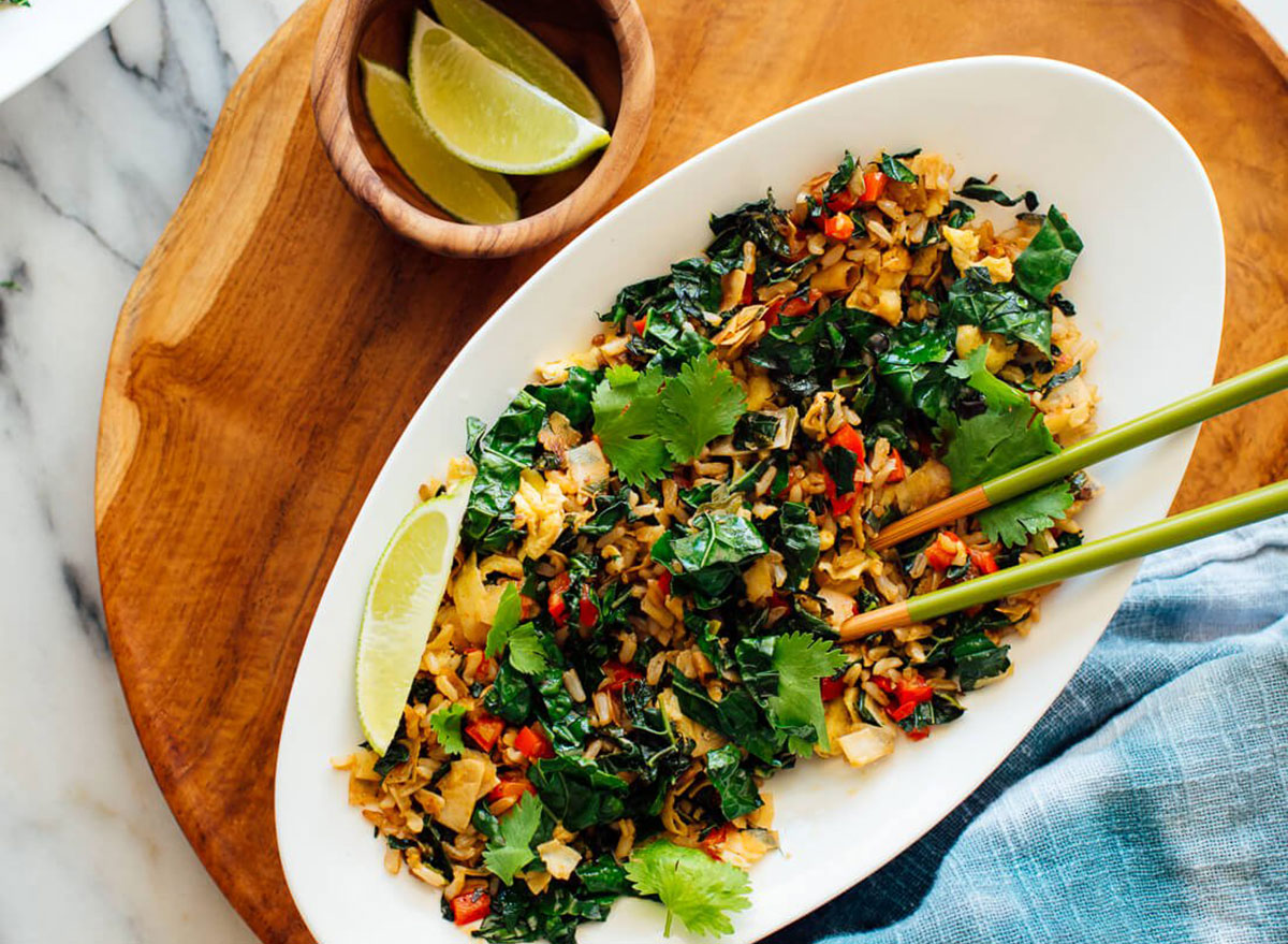 spicy kale coconut fried rice