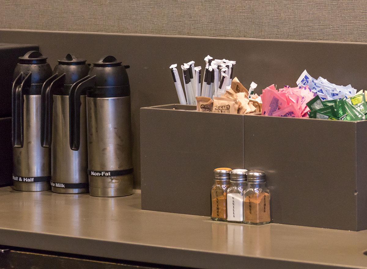 Starbucks condiment counter