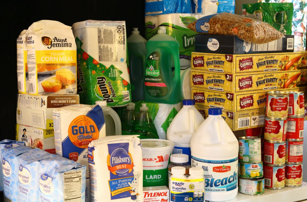 Stockpile of food and household supplies