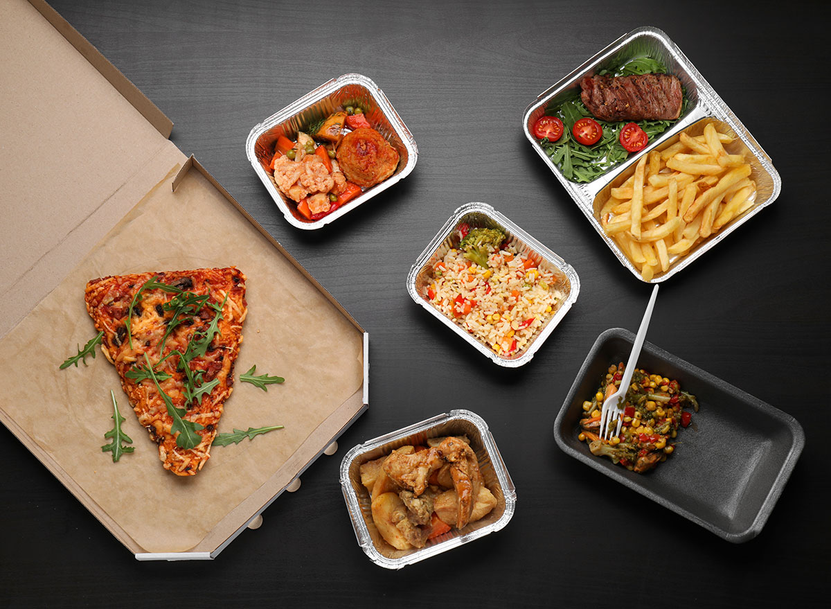 takeout containers with food