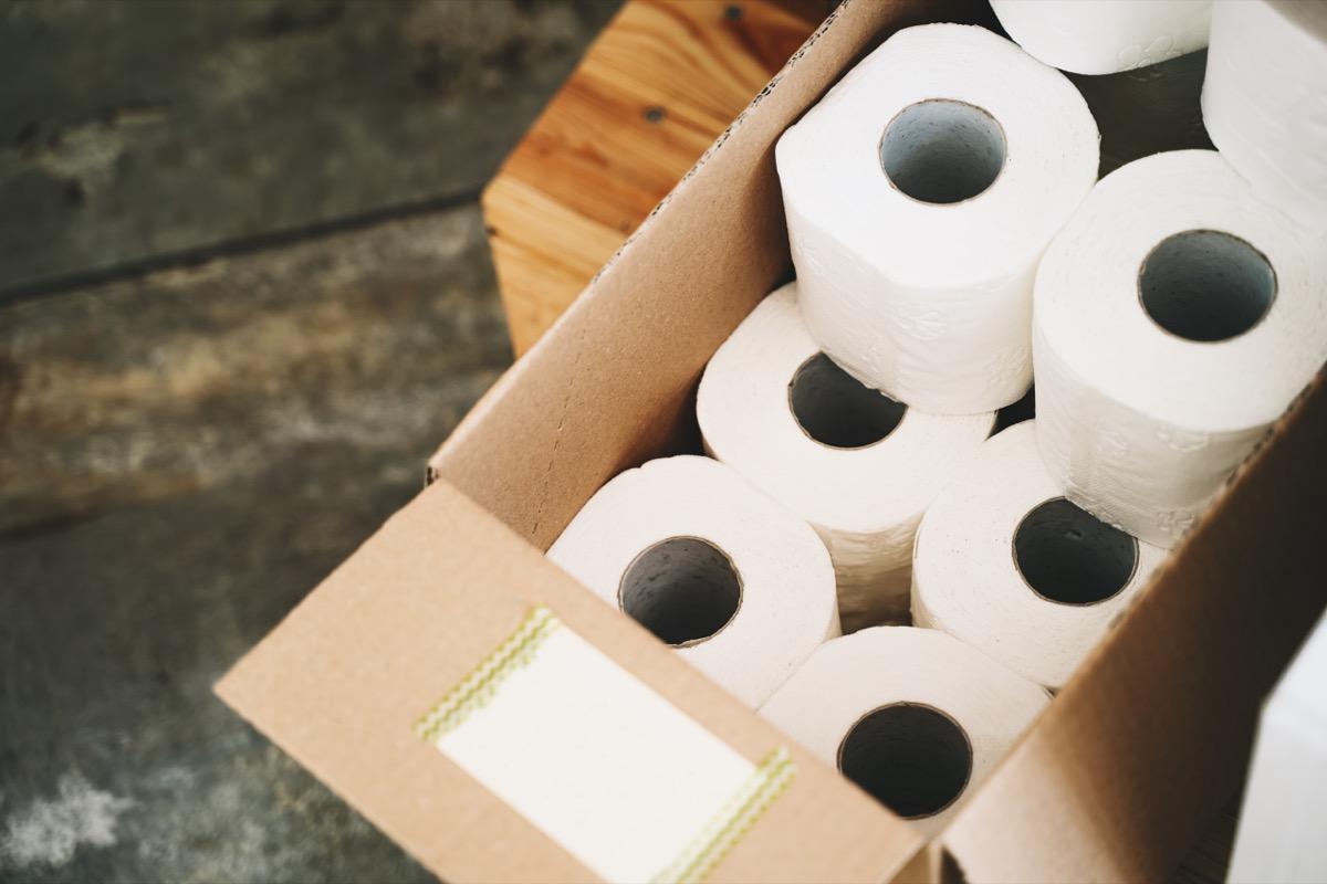 Toilet paper in carton craft box in plastic free store