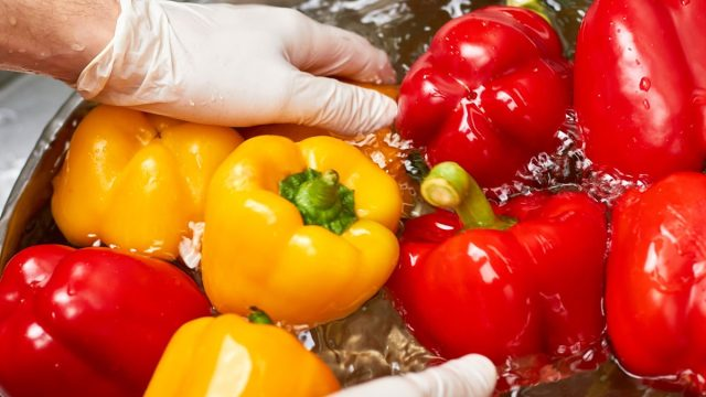 Man wearing gloves washing peppers vegetables produce in large bowl water