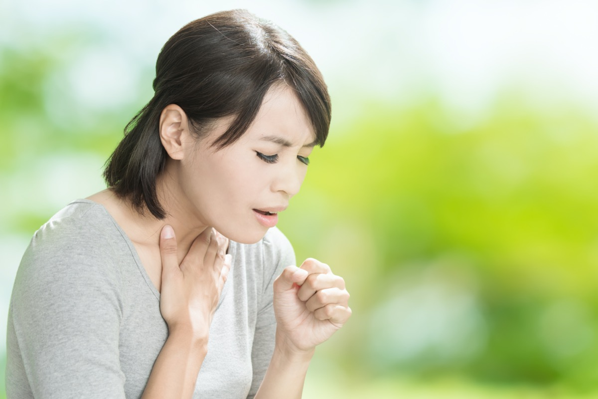 woman get sick and cough