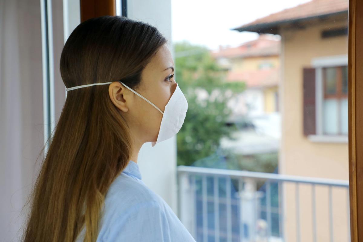 Woman isolation mask on face against Coronavirus Disease 2019.
