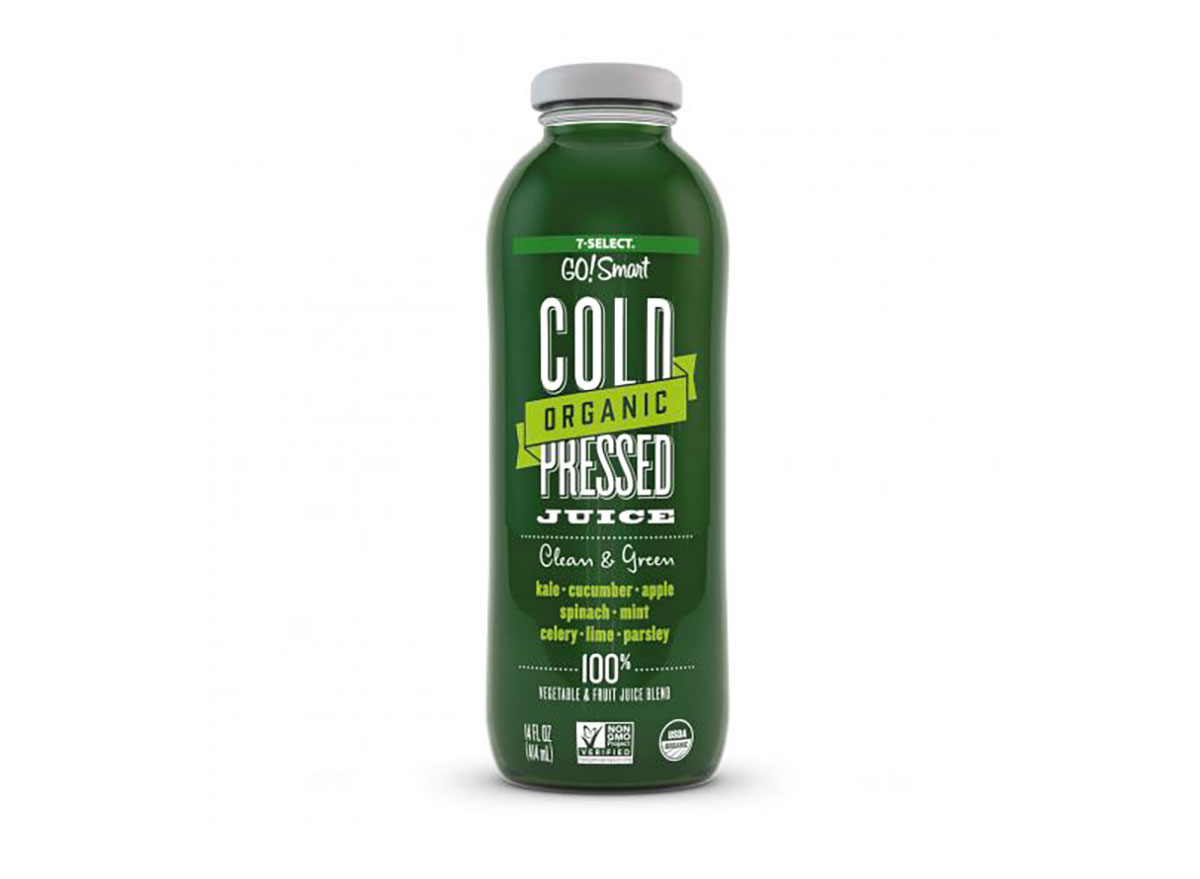 bottle of cold-pressed green juice from 7-eleven
