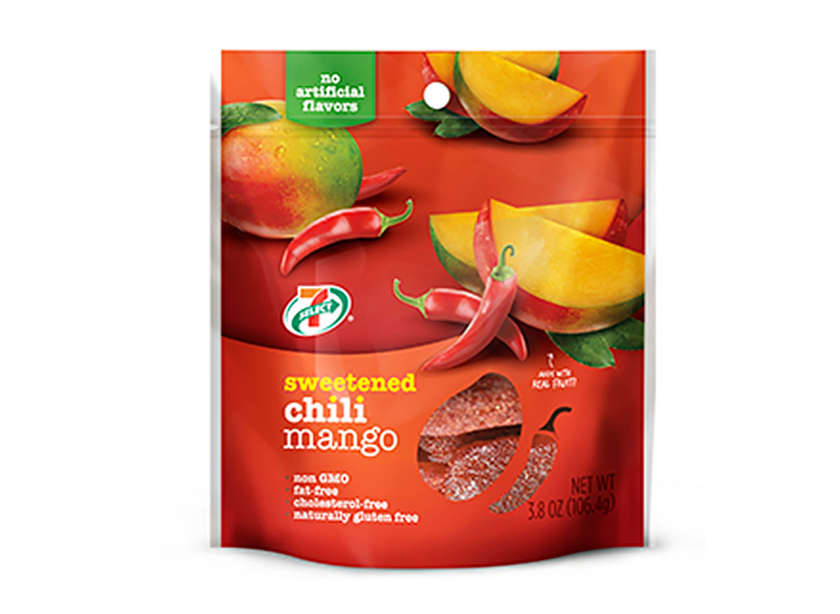 bag of dried chili mango slices from 7 eleven