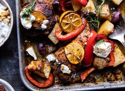 Chicken souvlaki and potatoes