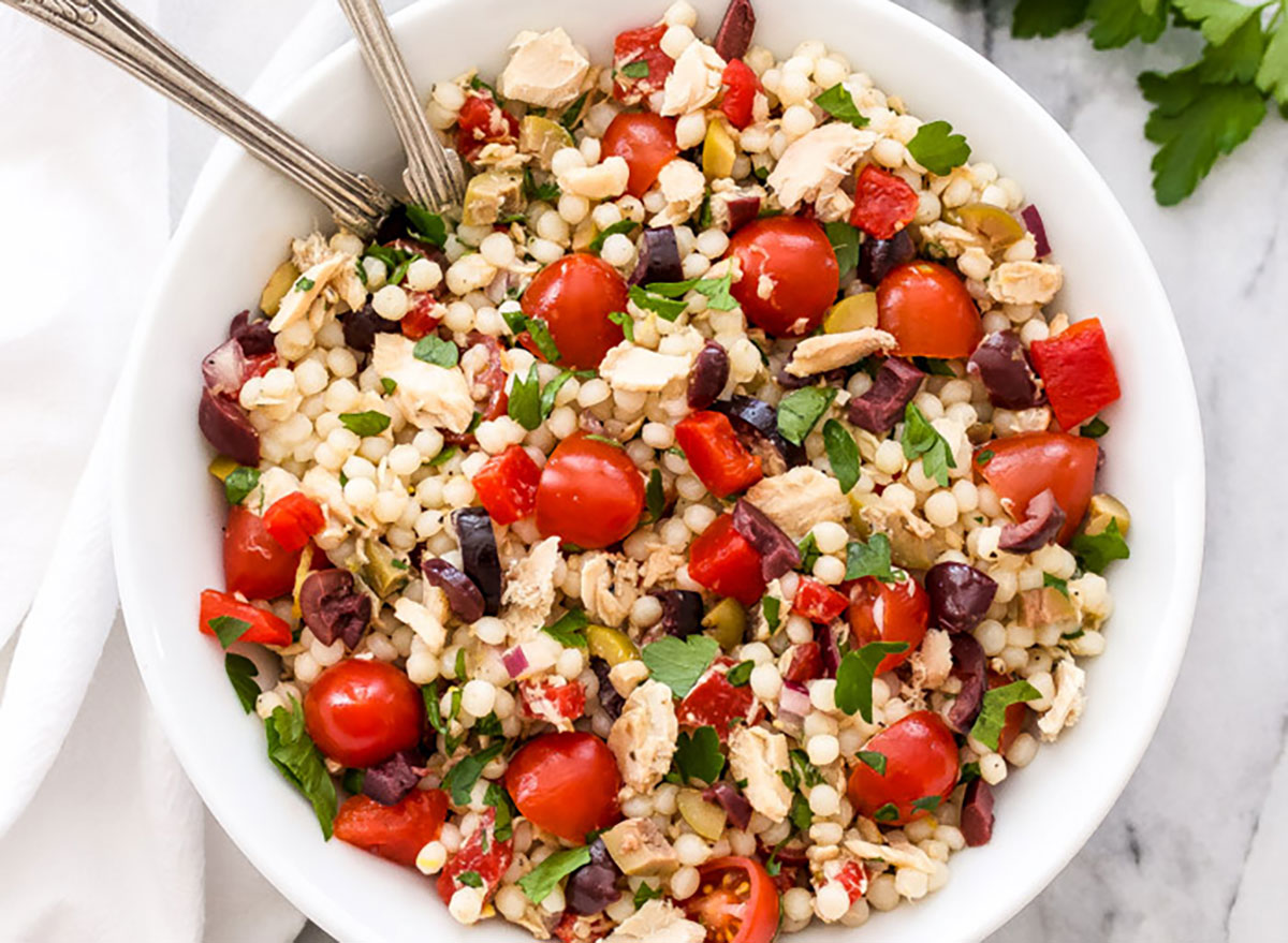 canned salmon recipes Mediterranean Salmon-Coucous Salad Recipe Runner