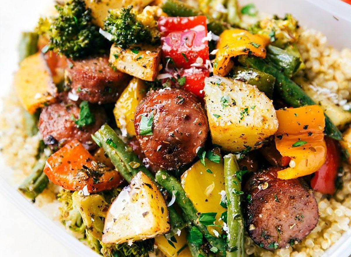 Sausage and roasted veggies