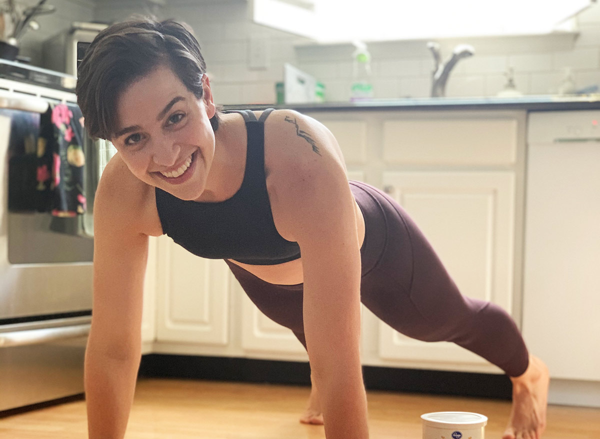 doing a plank in the kitchen