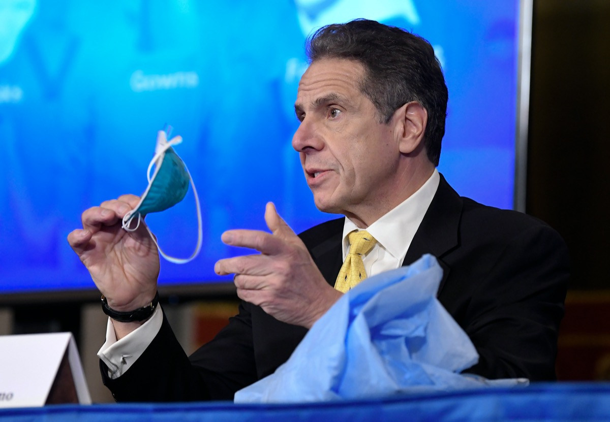 New York Gov. Andrew Cuomo announces updates on the spread of the Coronavirus during news conference in the Red Room at the state Capitol