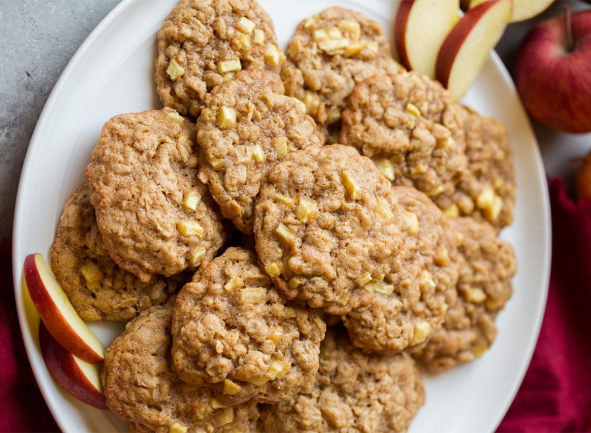 apple cinnamon oatmeal cookies on a plate