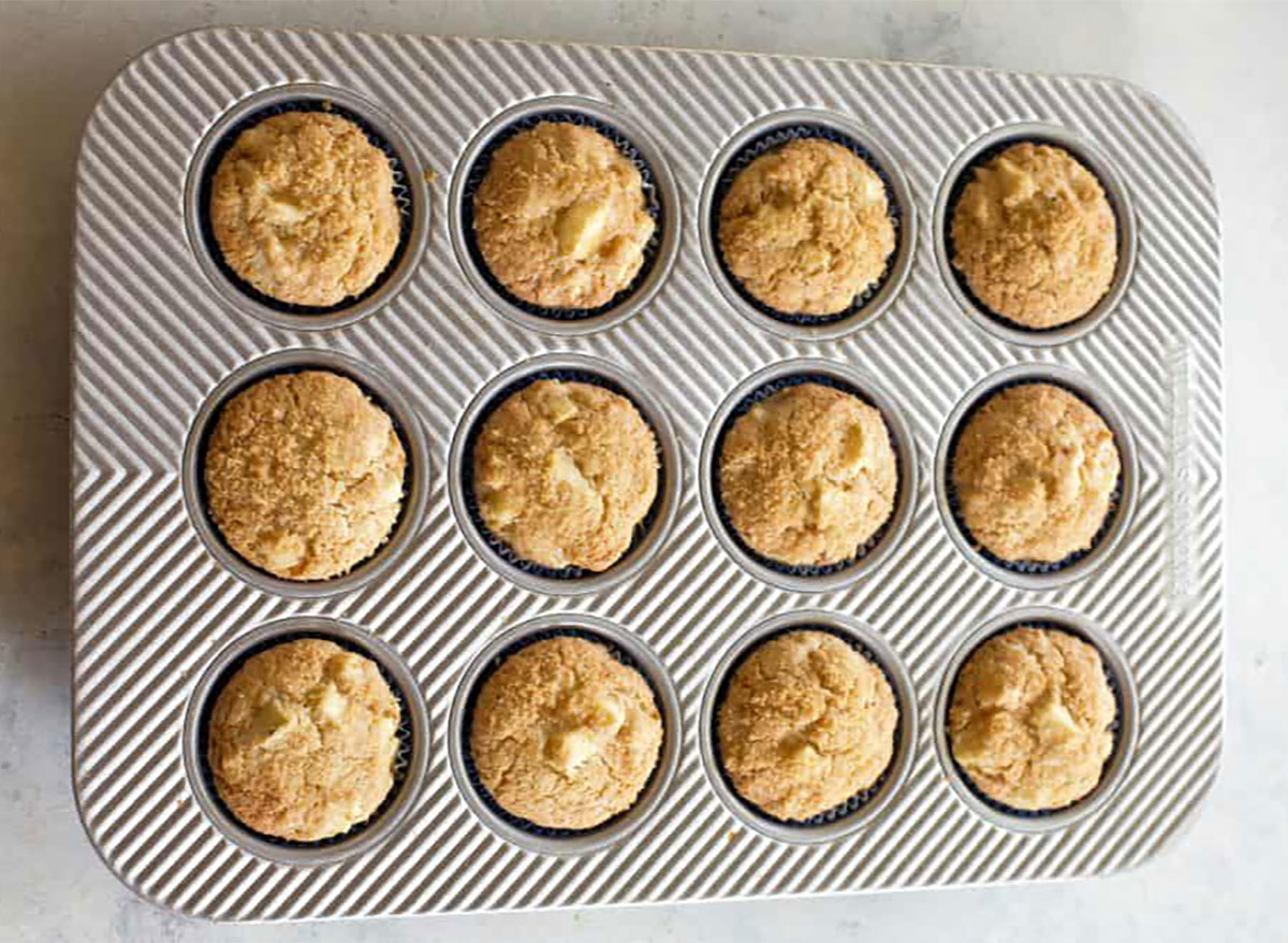 apple muffins in baking tin