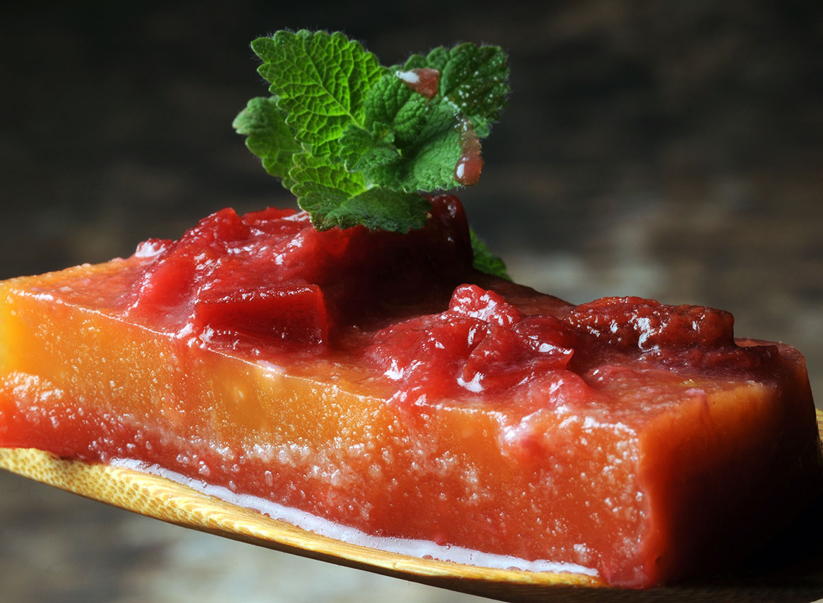 fruit aspic gelatin topped with preserves