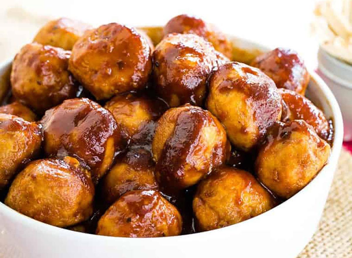 bowl of bbq turkey meatballs
