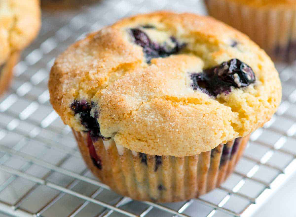 blueberry muffin on cooling rack