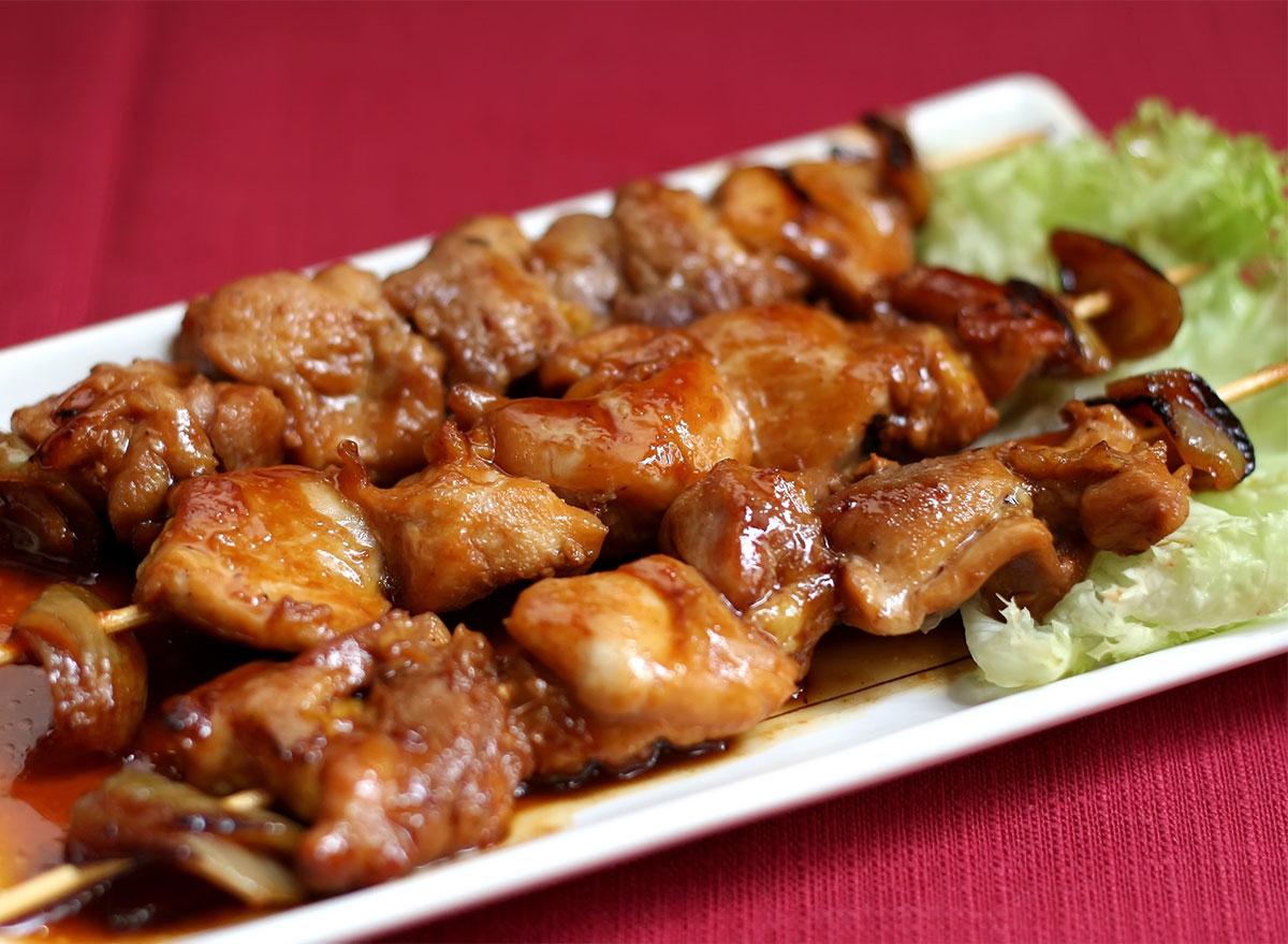 chicken teriyaki skewers on a plate