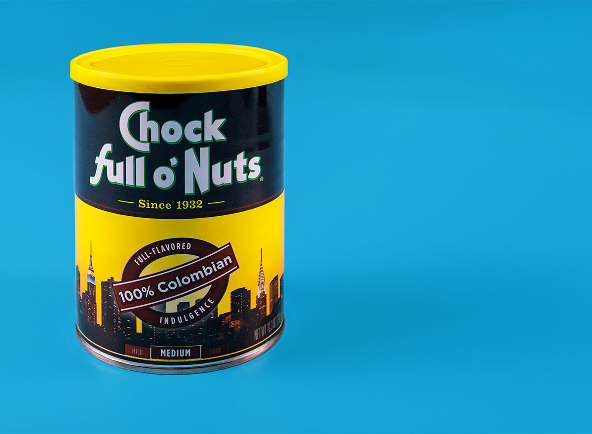 can of chock full o nuts coffee on blue background