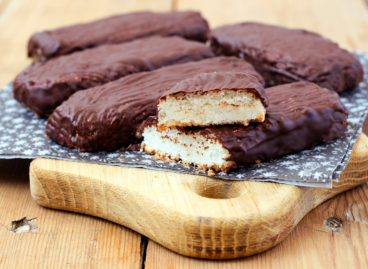 coconut bar covered in chocolate