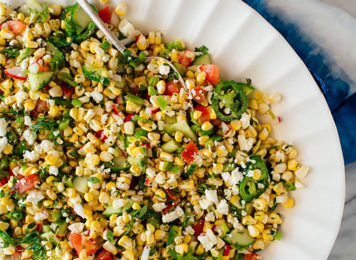 corn salad in serving platter