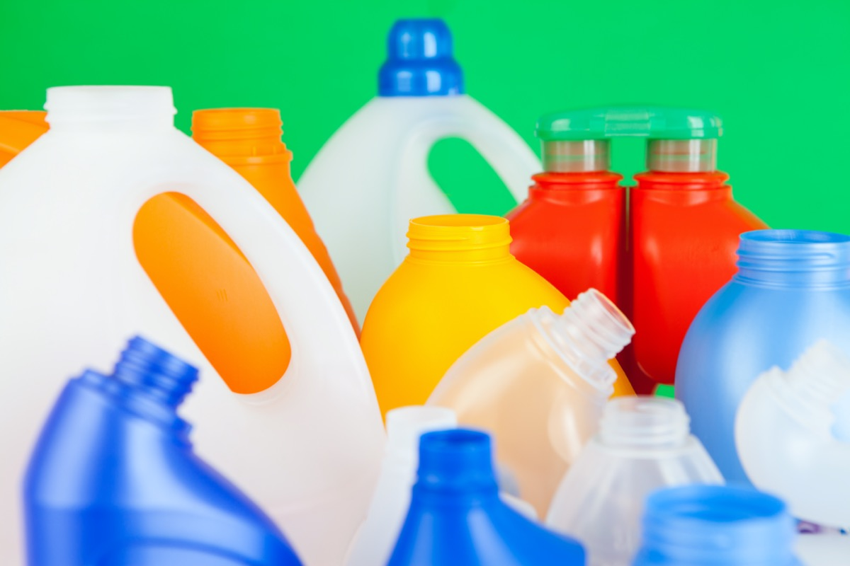 Group of empty plastic bottles of various sizes and colors
