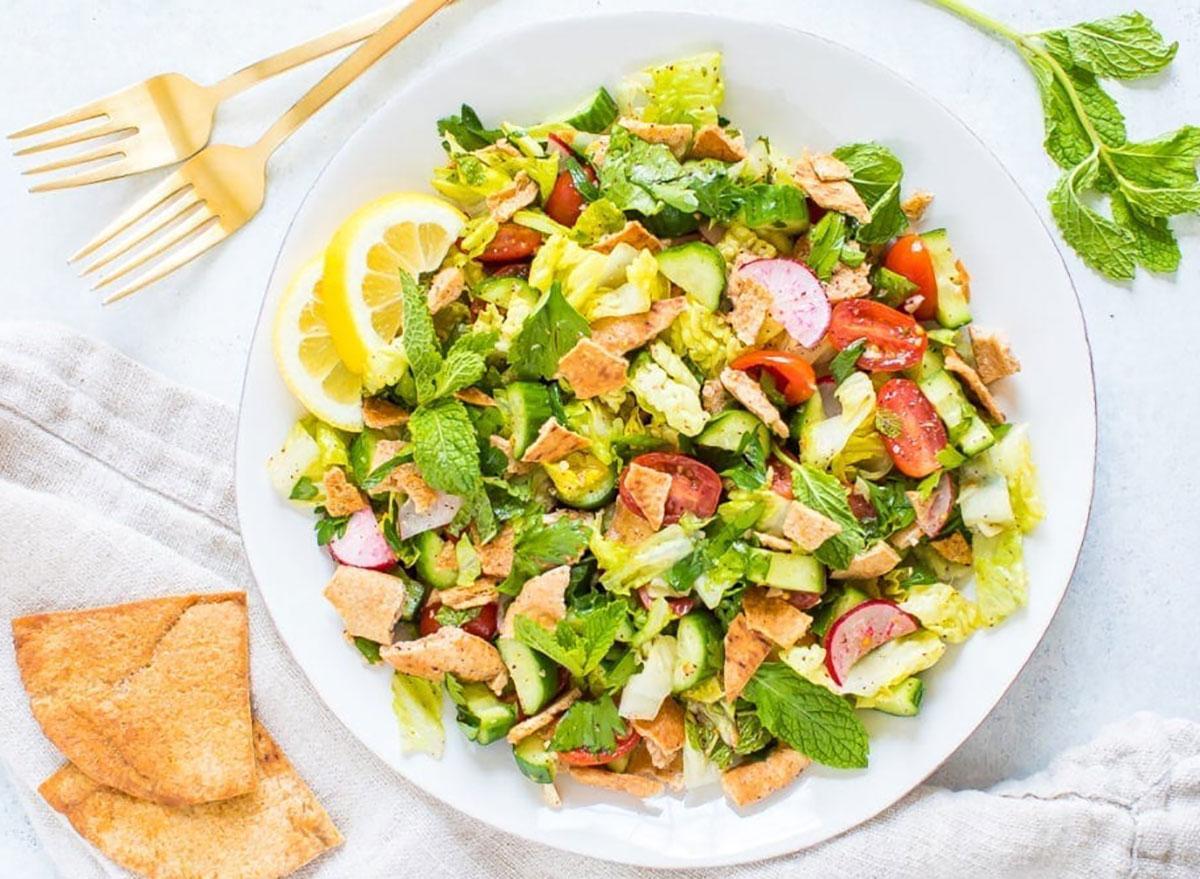 fattoush salad on plate