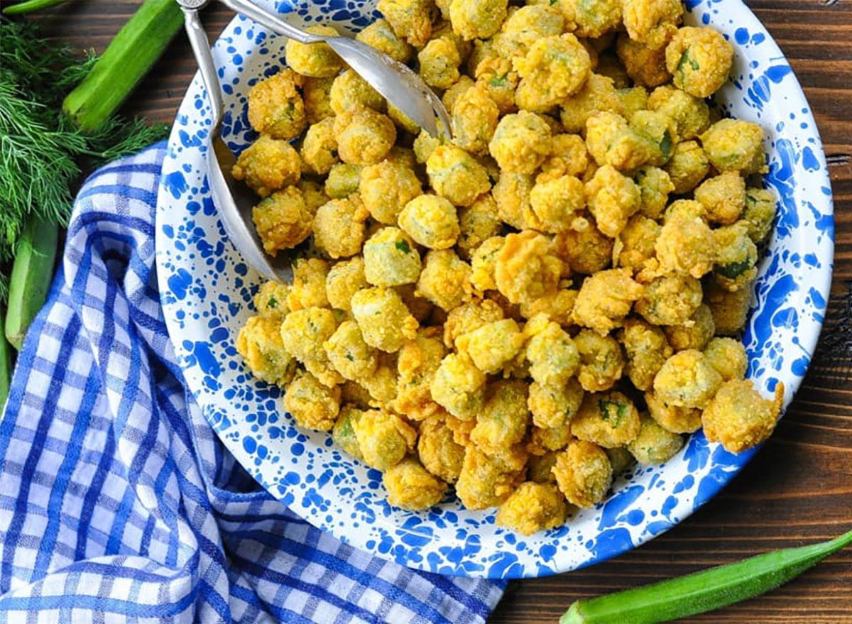 fried okra on plate