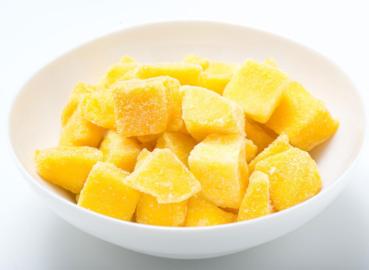 frozen mango chunks in bowl