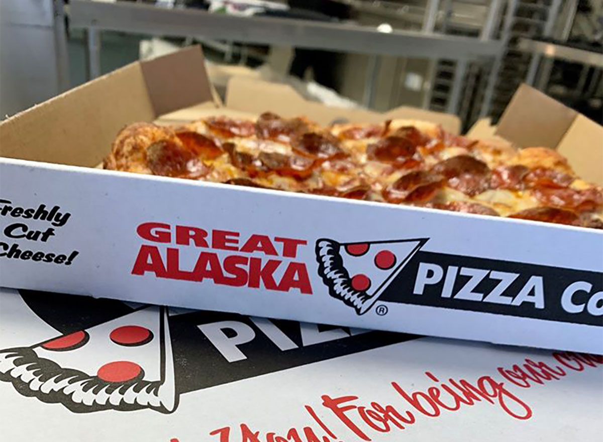 boxes of pizza from great alaska pizza company
