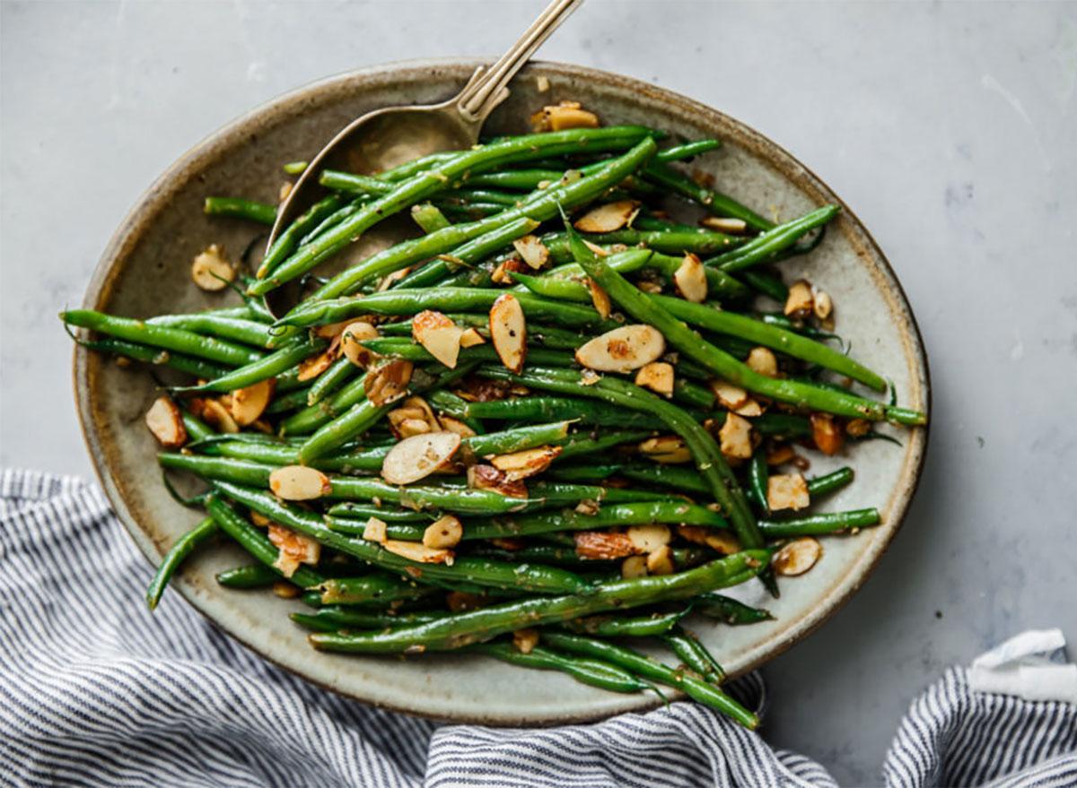 green beans almondine on serving platter