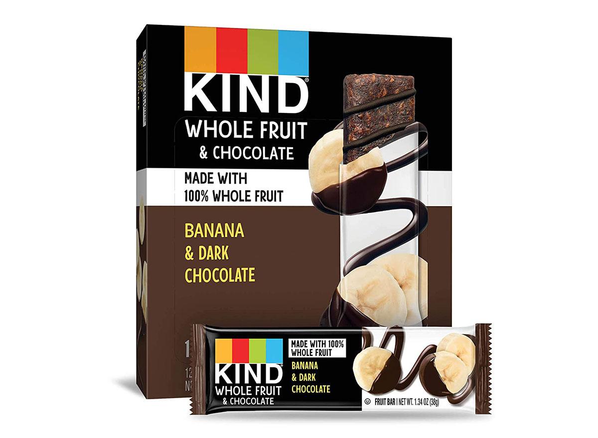 box of kind banana and dark chocolate bars