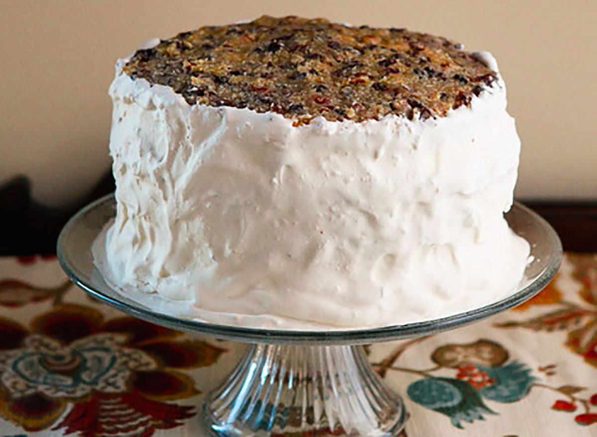whole lane cake on cake stand