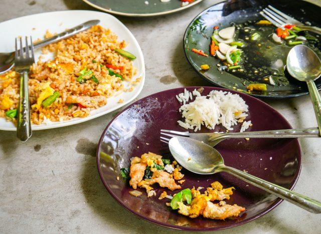 leftover food at restaurant