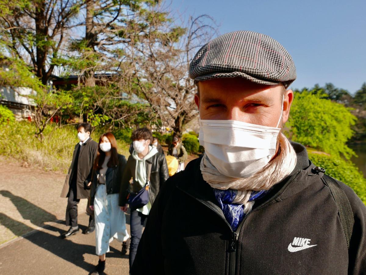 Social distancing in Shinjuku Gyoen Park in Tokyo while Sakura the cherry bloom.