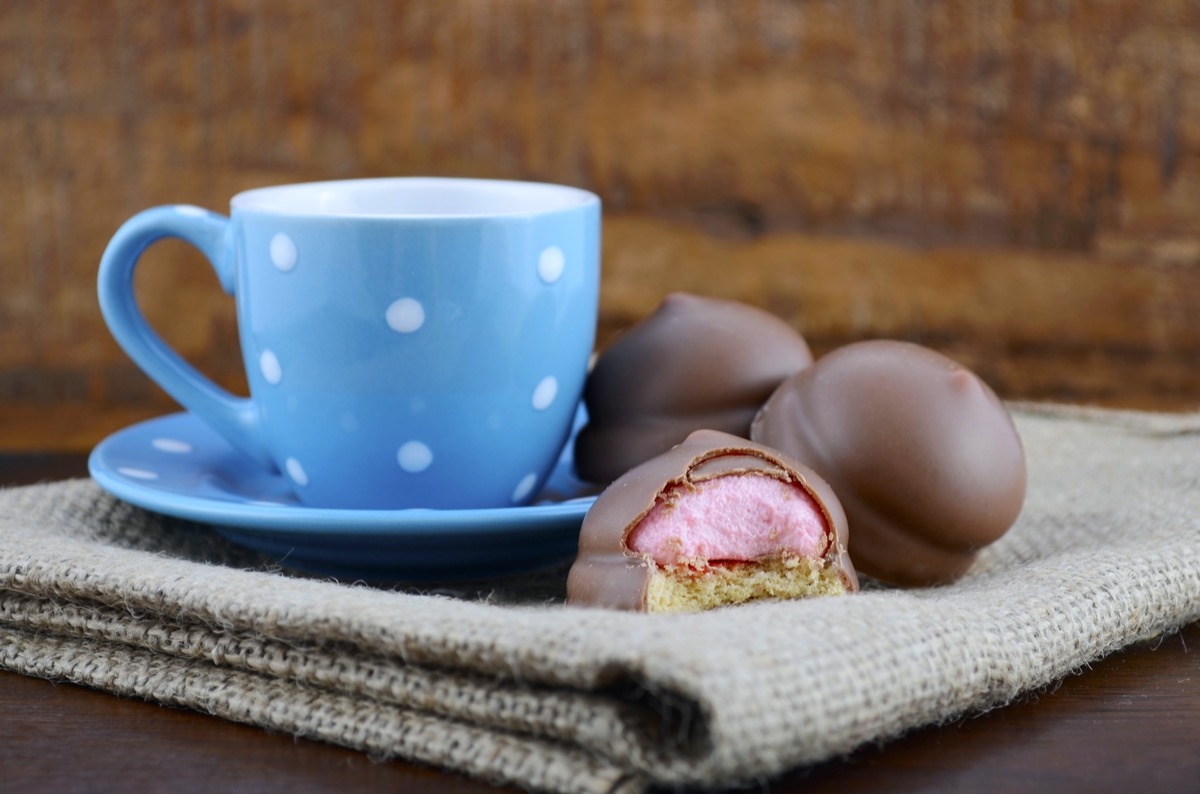 Coffee and Marshmallow Cookies in natural rustic background.