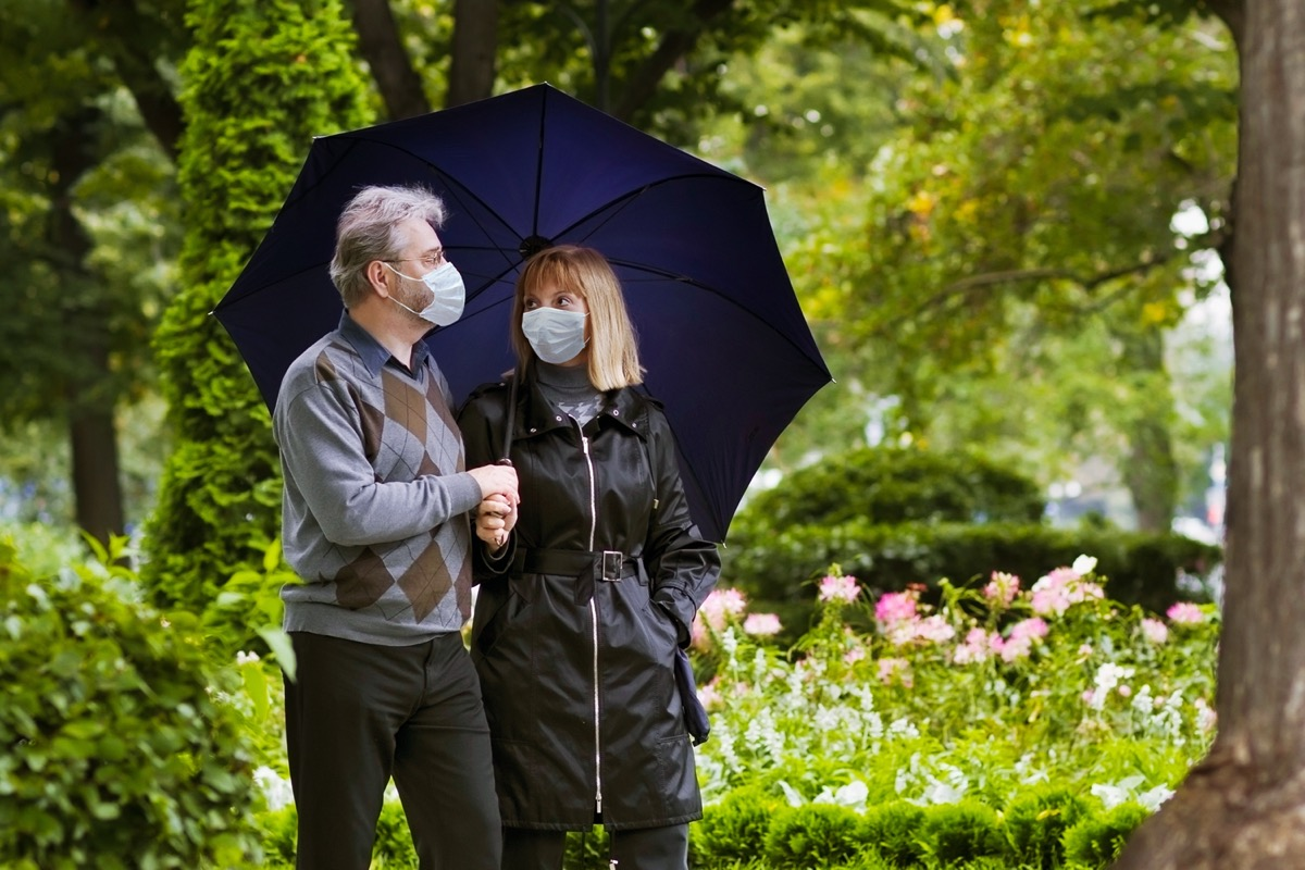 Retired couple walking in a park under quarantine during coronavirus outbreak