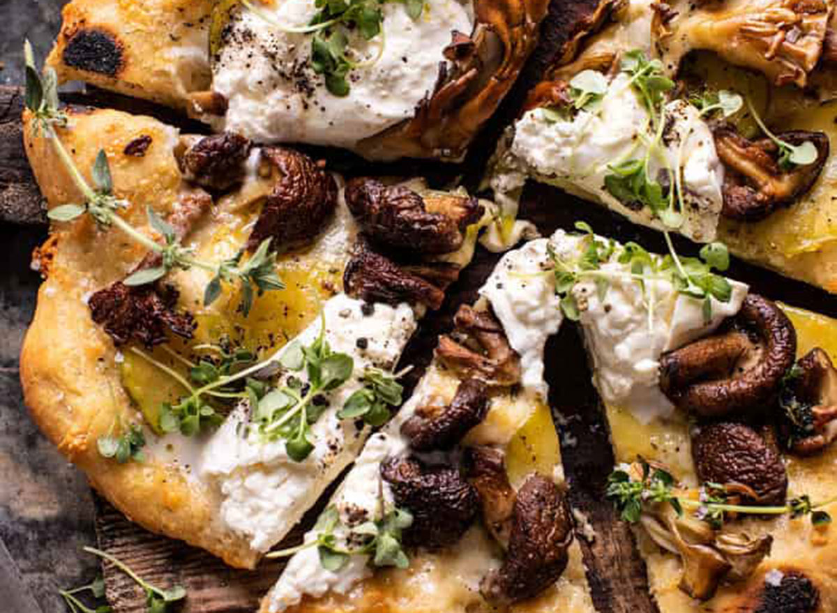 mushroom burrata pizza