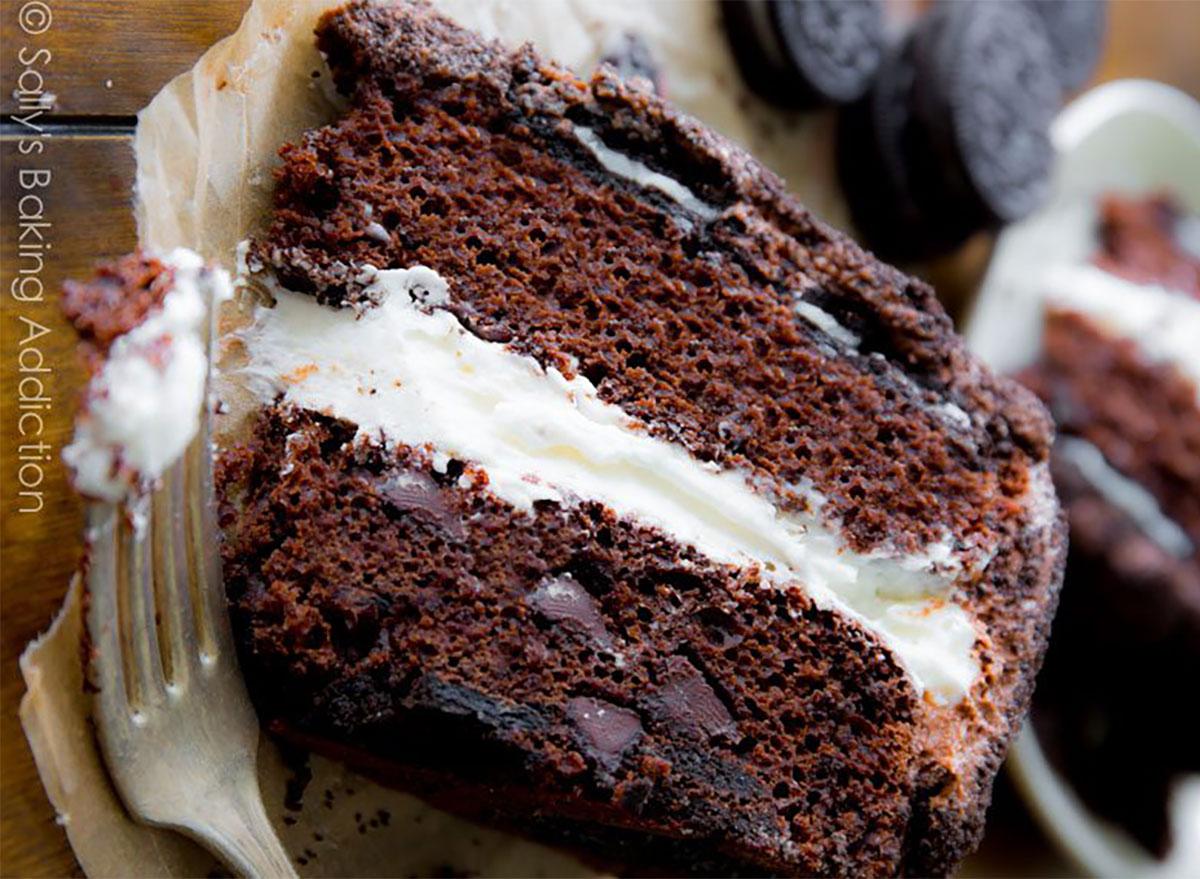 oreo cake slice with fork