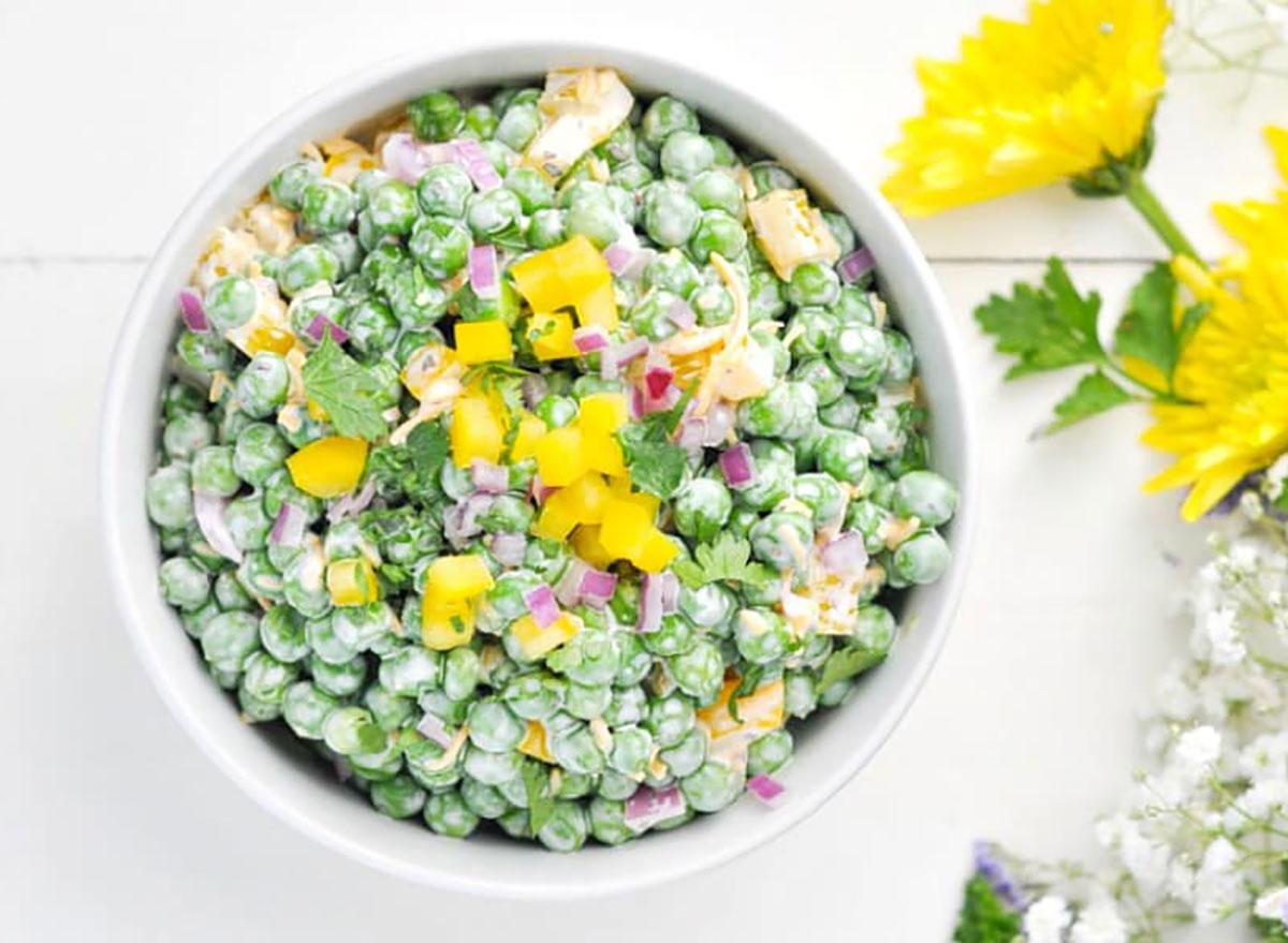 pea salad in bowl